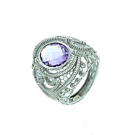 Sterling Silver Open Wire Work Oval Amethyst Ring