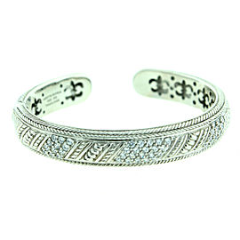 Judith Ripka CZ Diamonique Pave Hinged Sterling Silver Bangle Cuff Bracelet