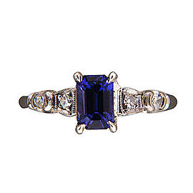 Vintage Art Deco Platinum with 1.02ct Violet Emerald Cut Sapphire and Diamond Ring Size 7