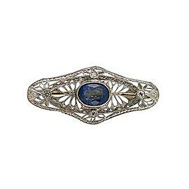 Platinum Art Deco Sapphire Diamond Vintage Pin
