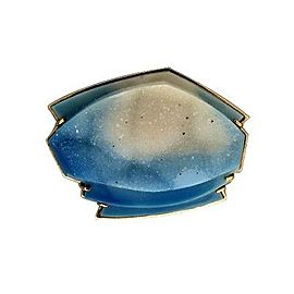 Peter Suchy 14K Yellow Gold with Carved Blue And White Druzy Quartz Pin Brooch