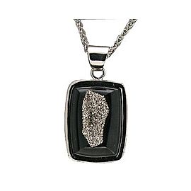 950 Platinum with Black Agate Pendant Necklace