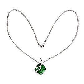 Vintage 18K White Gold 5.00ct Tsavorite Garnet & 0.18ct Diamond Pendant Necklace