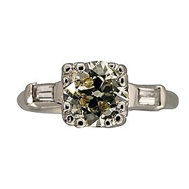 Vintage Platinum with .93ct Natural Light Yellow Transitional Diamond Ring Size 6