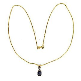 14K Yellow Gold with 2.00ct Bright Blue Sapphire & Diamond Pendant Necklace
