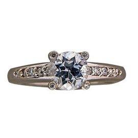 14k White Gold Sapphire Diamond Vintage Ring Size 6