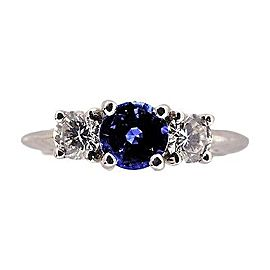 Platinum 0.65ct Sapphire & 0.32ct Diamond Size Ring 5.75