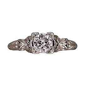 Vintage Art Deco Platinum with .50ct Old European Diamond Engagement Ring Size 6.5