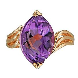 14K Yellow Gold with 3.50ct Amethyst Ring Size 6.75
