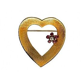 Cartier 14K Yellow Gold with 0.25ct Ruby & 0.03ct Diamond Heart Flower Vintage Brooch