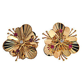 14K Rose Gold Ruby & Diamond Pierced Flower Earrings