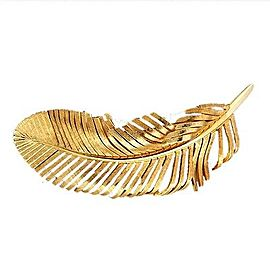 Tiffany & Co. 14K Yellow Gold Textured Feather Pin Brooch