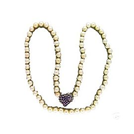 14K White Gold with Pearl & Amethyst Necklace