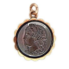 14K Rose Gold Carved Face Carnelian Onyx Vintage Pendant