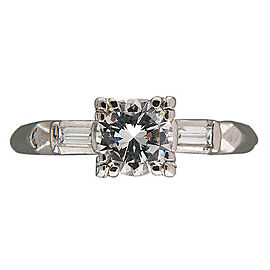 Vintage Art Deco Platinum with .79ct Transitional Diamond Ring Size 7.25