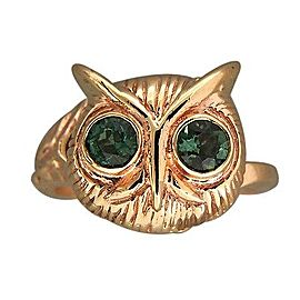 Vintage 14K Yellow Gold & 0.40ct. Green Tourmaline Eyes Owl Head Ring Size 4