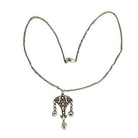 Platinum 0.70ct Pear Shaped Diamond Black Starr & Frost Edwardian Pendant Necklace