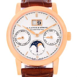 A. Lange & Sohne Saxonia 330.032 18K Rose Gold & Leather Automatic 38.5mm Mens Watch