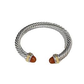 David Yurman Sterling Silver & 14k Gold Carnelian Bracelet, 7mm