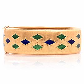 Buccellati 18K Yellow Gold & Enamel Bangle Bracelet