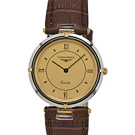 LONGINES XL*18 Gold Dial SS/GP/Lether Quartz Men's Watch