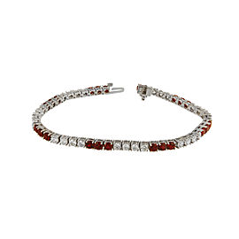 Diamond and Ruby Tennis Bracelet in 14k White Gold
