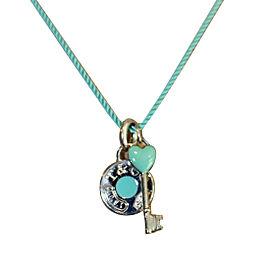 Tiffany & Co. 925 Sterling Silver & Blue Silk Cord Key Pendant Necklace