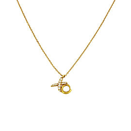 Tiffany & Co. Paloma Picasso 18K Yellow Gold & Diamond Love Kisses Pendant Necklace
