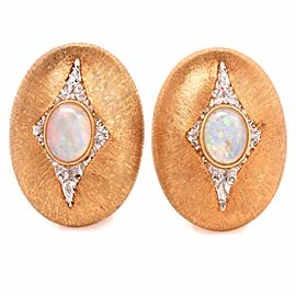 Mario Buccellati 18K Yellow Gold Opal Diamond Earrings