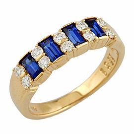 MIKIMOTO 18K Yellow Gold Sapphire stones Diamond stones Ring CHAT-901