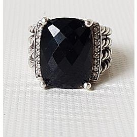 David Yurman Wheaton 16x12 Black Onyx Diamond Ring