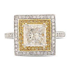 14K White & Yellow Gold Diamond Ring Size 7