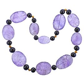 Carved Amethyst Onyx Gold Necklace