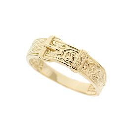 14K Yellow Gold Ornate Buckle Band Ring Size 6
