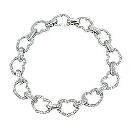 Aaron Basha 18k White Gold Diamond Heart Bracelet