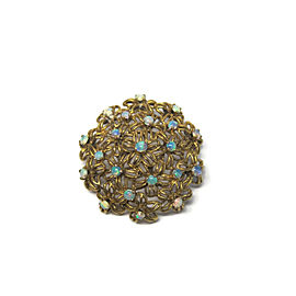 14K Yellow Gold Jelly Opal Floral Brooch & Pendant