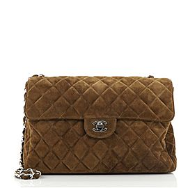 Chanel Vintage Classic Single Flap Bag Quilted Suede Jumbo