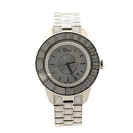 Christian Dior Christal Quartz Watch Stainless Steel and Sapphire Crystals with Diamond Bezel and Mother of Pearl 33