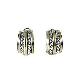 David Yurman Sterling Silver and 18K Yellow Gold Bamboo Semi Hoop Earrings