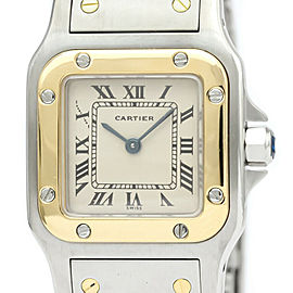 Polished CARTIER Santos Galbee 18K Gold Steel Quartz Ladies Watch