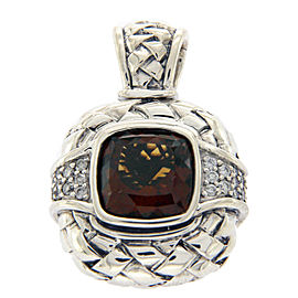 Scott Kay Sterling Silver Smokey Quartz & Diamond Enhancer Pendant Charm