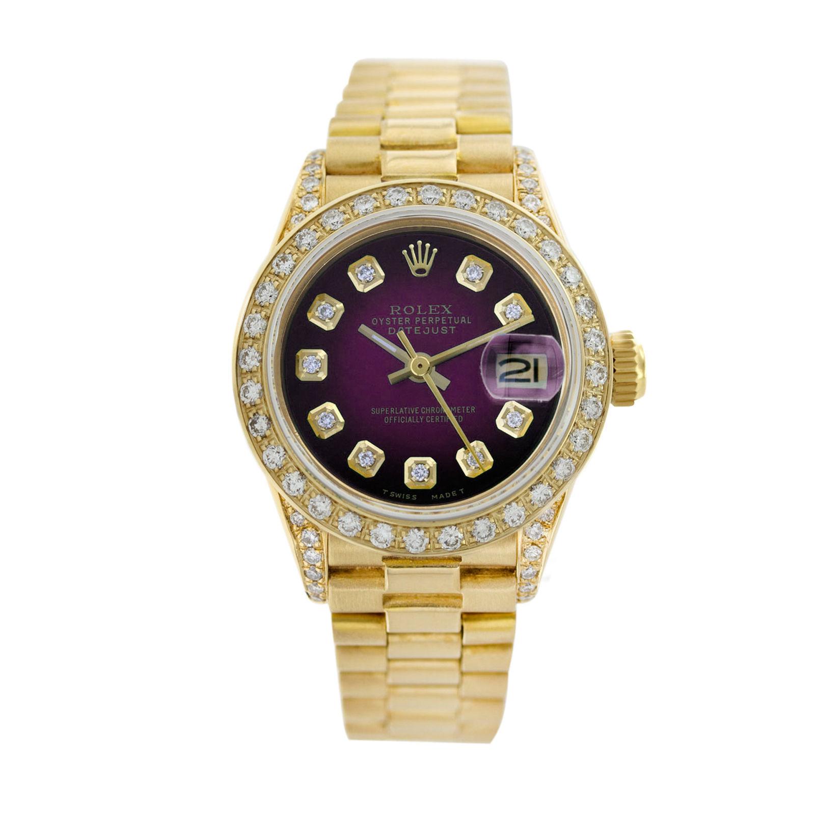 Rolex Datejust 6917 18K Gold Diamond Dial/Diamond Bezel 26mm Women Watch