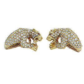 Carrera y Carrera Panther 18K Yellow Gold Diamond Earrings