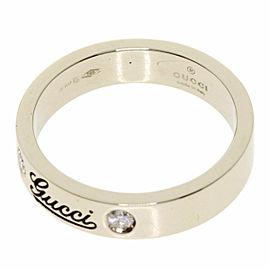 GUCCI 18K White Gold Icon Print Diamond Ring