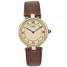 CARTIER Vermeil 590003 Silver925/Leather Quartz Unisex Watch