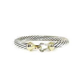 David Yurman Sterling Silver 18K Yellow Gold .07tcw Diamond Buckle Bracelet