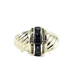 David Yurman 14K Yellow Gold Sapphire Diamond Princess Shrimp Dome Ring