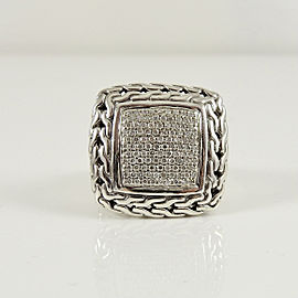 John Hardy Sterling Silver 18K .85tcw Large Classic Chain Pave Diamond Ring
