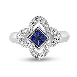 18k White Gold 0.60ct. Diamond & Sapphire Clover Flower Ring Size 7.25