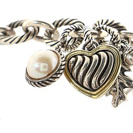 David Yurman Oval Link Charms Bracelet Sterling Silver and 18K Yellow Gold with Pearls Large